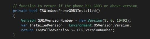 How to Programatically determine if the Windows Phone 8 GDR3 Update is installed in Phone?