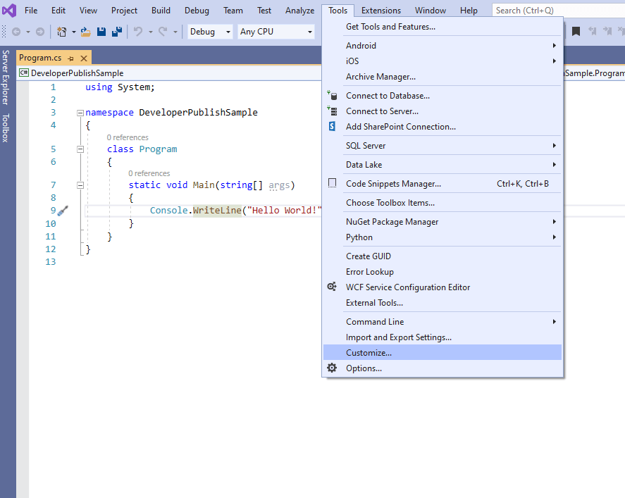 How to disable highlighting of current line in Visual Studio ?