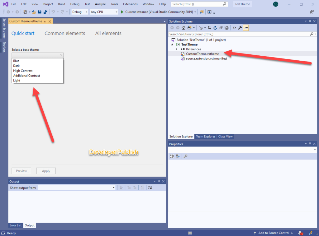 Using Base Theme in Visual Studio to modify