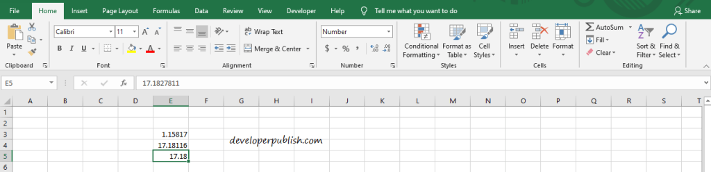 Decimal places in Microsoft Excel