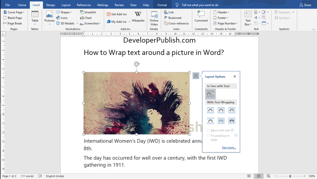 How to Wrap text around a Picture in Word?