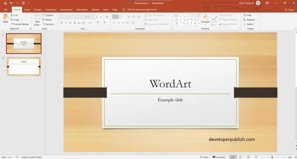 Insert WordArt in Microsoft PowerPoint