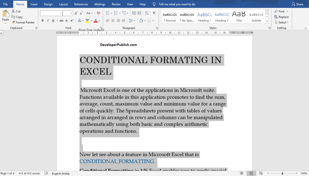 How to Indent First line of a Paragraph in Microsoft Word?