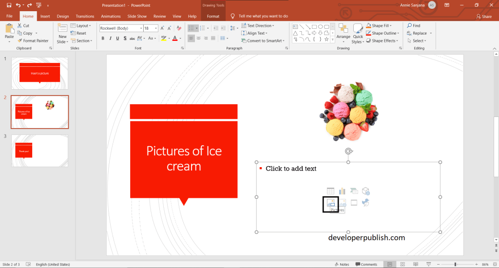 Insert a picture in PowerPoint