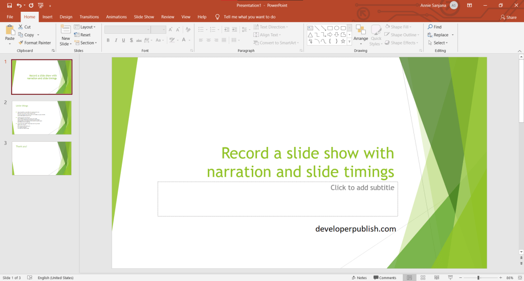 Record a slide show with narration and slide timings in PowerPoint