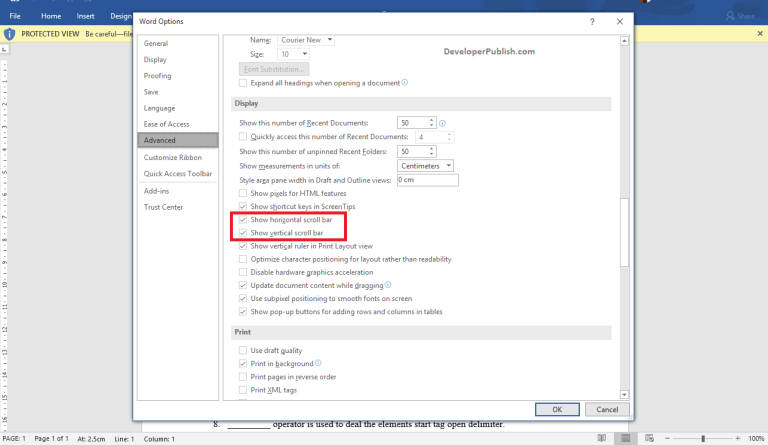 Document Scrolling in Word