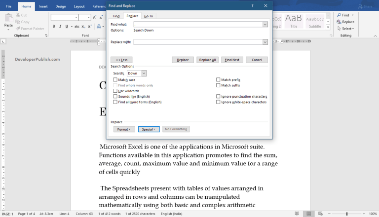 How to find the Special Characters in Word document?