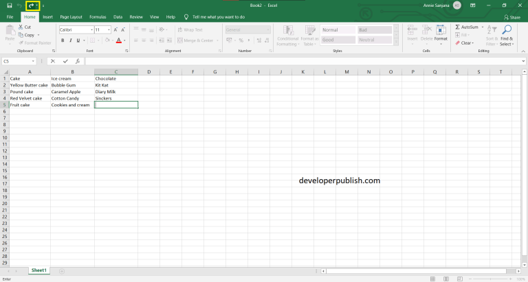 Undo and Redo in Excel