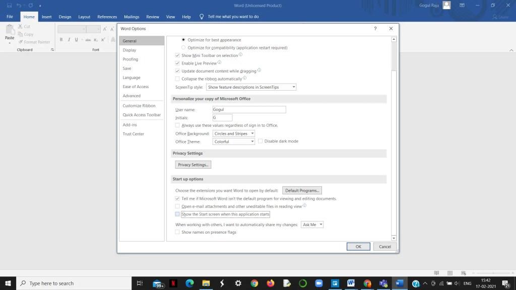 Start Screen in Microsoft Word