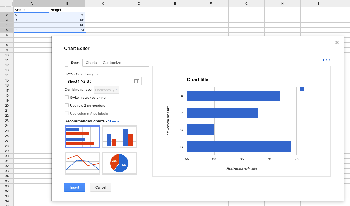 hight resolution of creating a chart from a separate spreadsheet