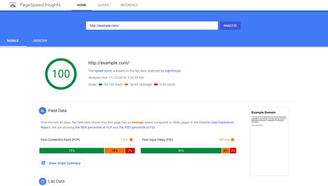website analytics tools - PageSpeed Insights