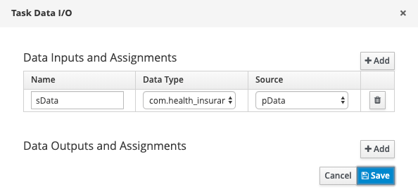 jBPM Data Inputs and Assignments section.