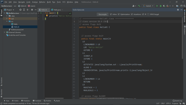Image from ide which shows byte code