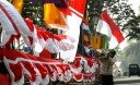 FLAGS OF INDONESIA  IN PREPARATION FOR THE CELEBRATION