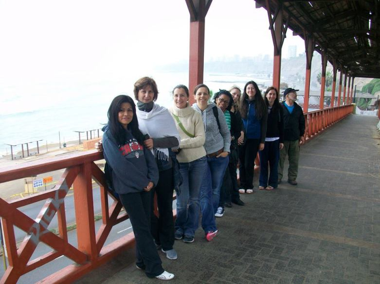 Solidarity in Action participants in July enjoy a walk along the beach in Barranco, Lima