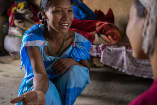 November 19, 2013 - Binauna village, Banke (Nepal). Laxmi Baishya has just given birth to her third child at the rural Binauna health post, in Banke District, Nepal. During the 8th month of her pregnancy, Jharana Kumari Tharu - a female community health volunteer in her ward – came to her home and counseled her on how a simple tube of chlorhexidine antiseptic gel, applied to her baby's umbilical cord, could help prevent infection and even death. Now Jharana performs a routine check-up on mom and baby to make sure both are healthy.