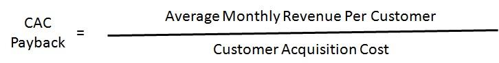 CAC payback formula
