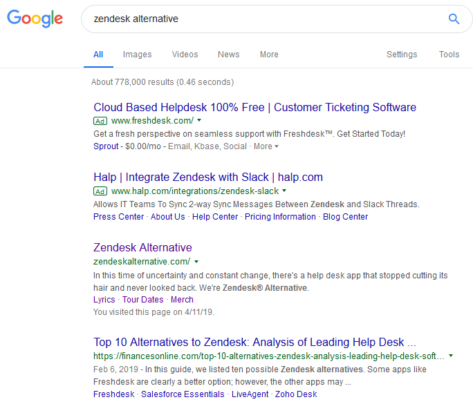 Google zendesk alternative