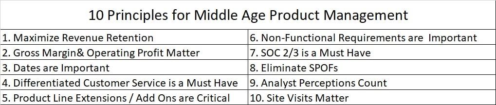 Middle age product management principles