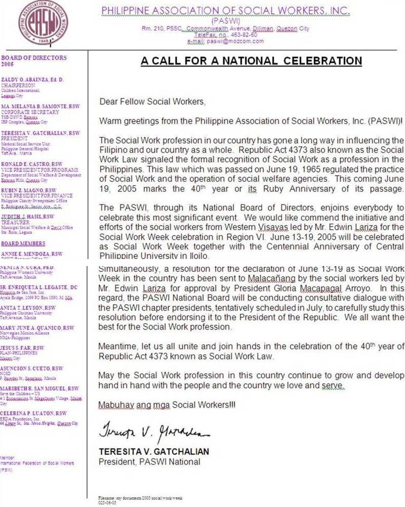 Glim of hope for  this year's national celebration of  Social Work Week (3/6)