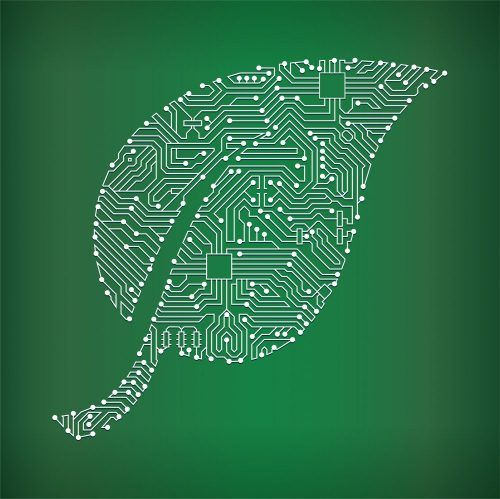 Leaf Circuit Board on Green Background