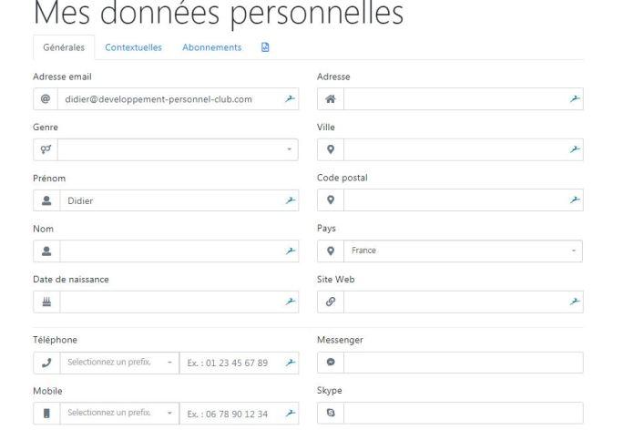 rgpg Email developpement personnel club et contrôle de vos données
