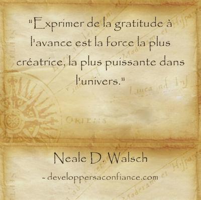 citation sur la puissance de la gratitude pour la loi de l'attraction