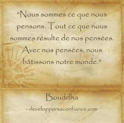 citation de Bouddha sur la loi d'attraction : nous sommes le résultat de nos pensées