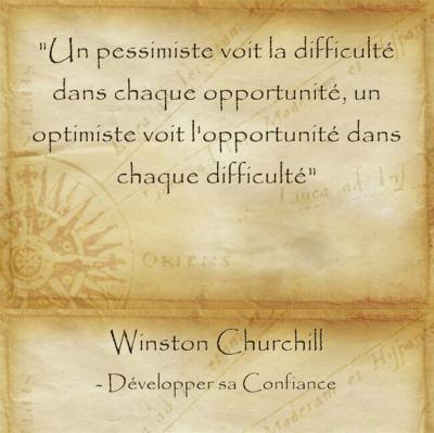 Citation de Churchill sur l'optimiste qui sait ne jamais abandonner