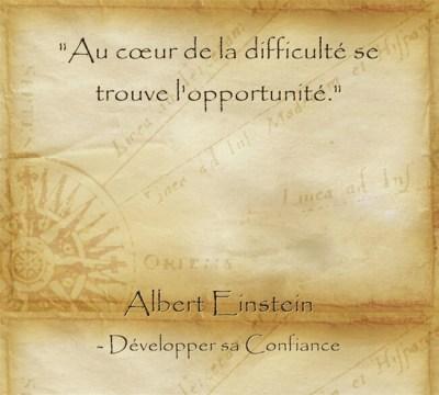 Citation d'Albert Einstein pour profiter des opportunités