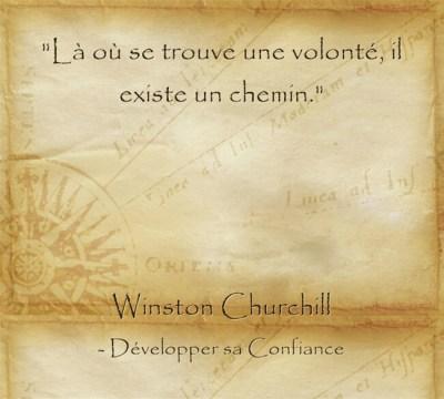 Citation de Churchill sur la volonté qui permet de ne ne jamais abandonner
