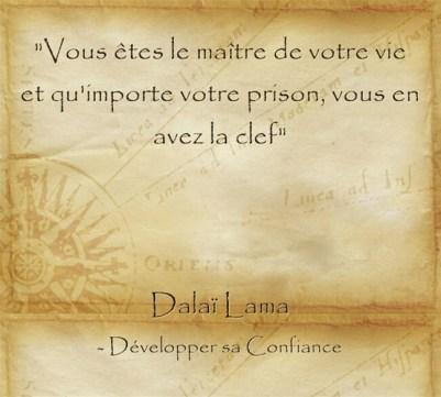 Citation de sérénité du Dalaï Lama maître de sa vie