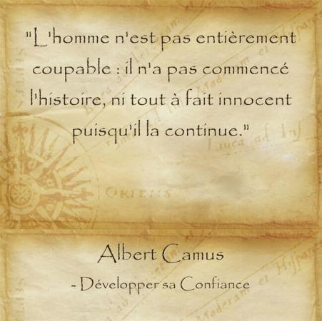 citation d'Albert Camus sur la responsabilité de l'homme
