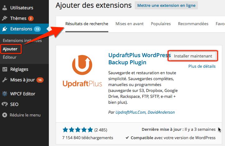 Installer extension de backups UpdraftPlus