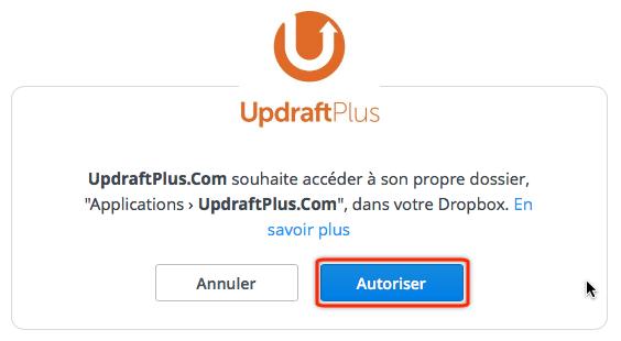 Liaison UpdraftPlus.com vers DropBox