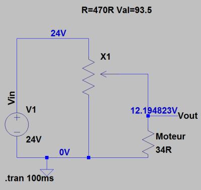 Réglage du potentiomètre pour obtenir 12V au moteur