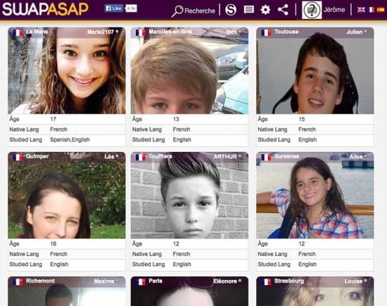 Capture d'écran du site Swapasap montrant les profils de membres