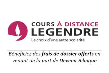 Cours Legendre à distance : bénéficiez des frais de dossier offerts en venant de la part de Devenir Bilingue