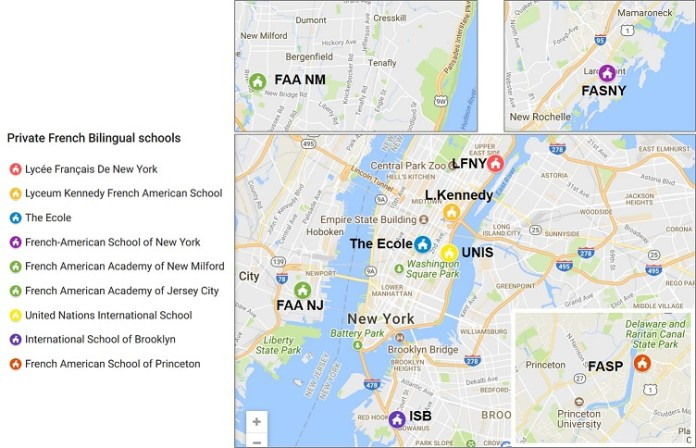 Carte des écoles privées bilingues à New York