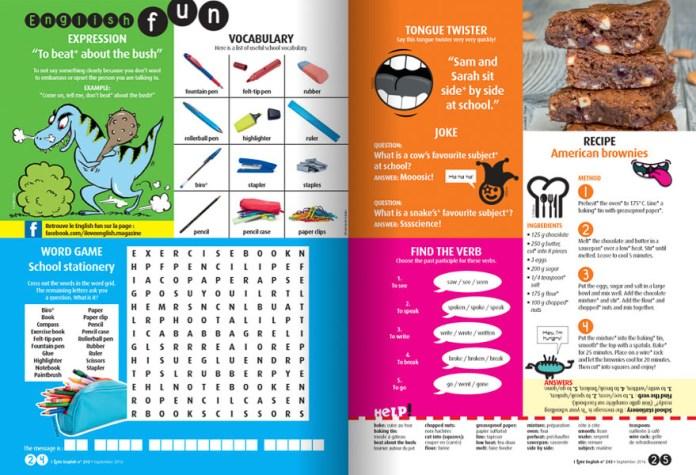 Extrait de la page de jeux du magazine I Love English pour les 12-15 ans