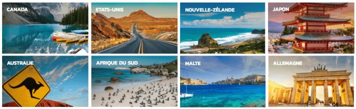 Séjours Nacel aux USA, Canada, Afrique du Sud, Malte, Allemagne, Nouvelle-Zélande, etc...