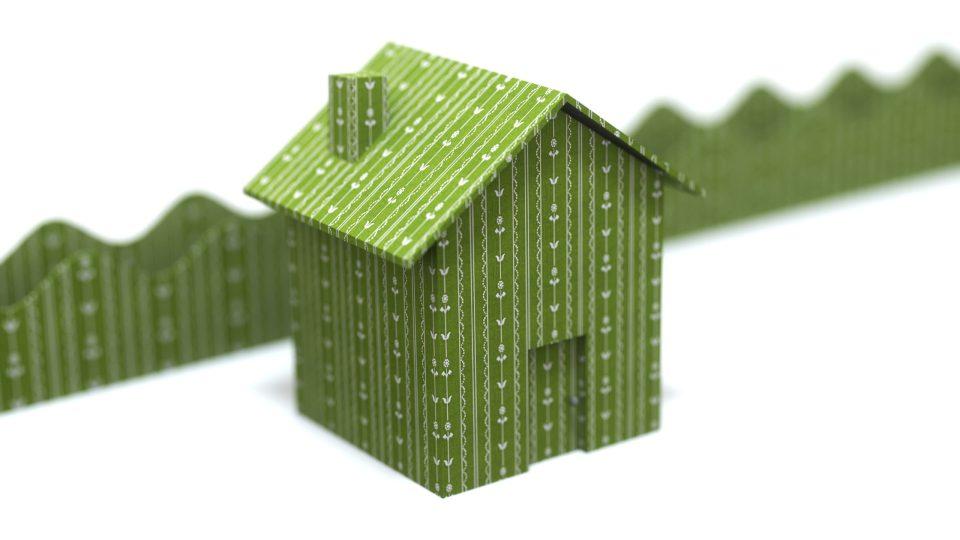 green flower wallpaper house render