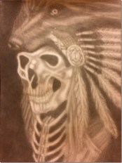 Indian Chief Skull - By Quentin