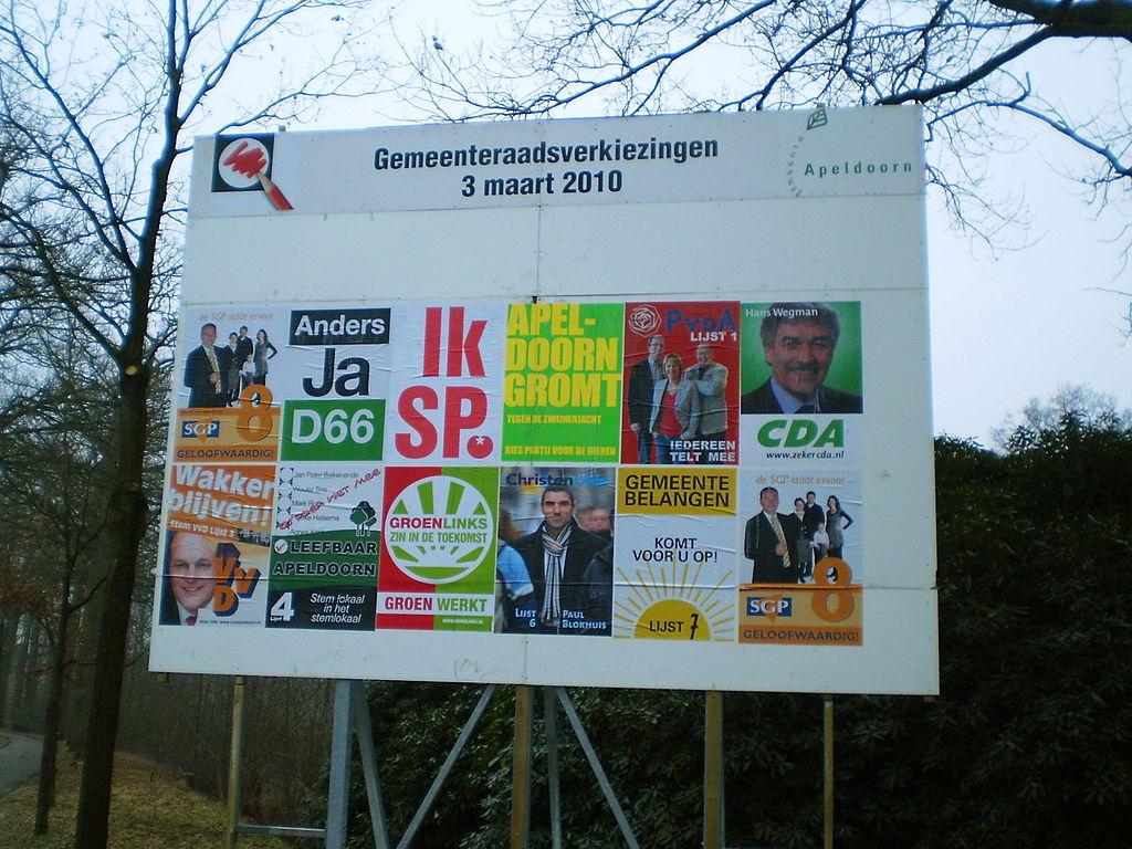 Verkiezingsbord gemeenteraadsverkiezingen 2010