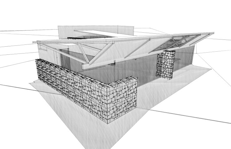 Deverson Architects Project: A 3D modelled architectural sketch of a house in Southland