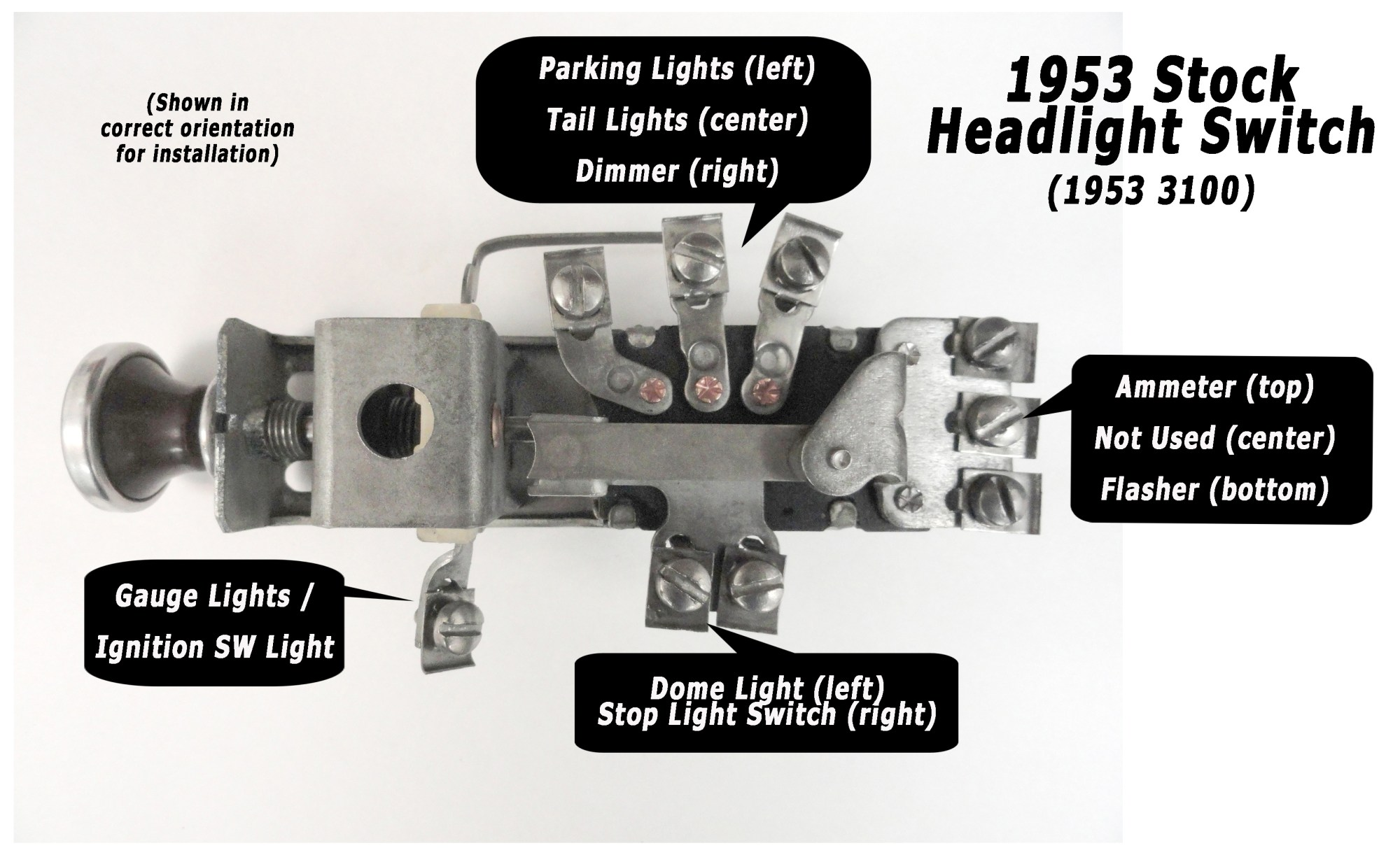 hight resolution of 1953 headlightswitchdiagramlg ad truck wiring made easy painless wiring headlight switch wiring diagram at cita