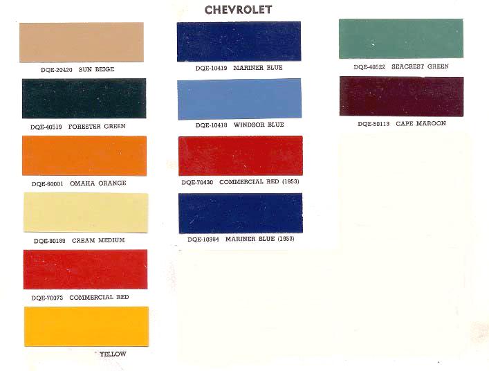 Chevy Truck Interior Color Codes