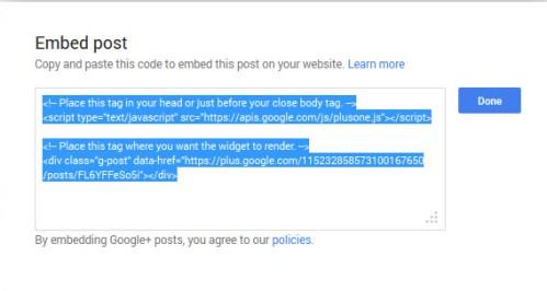 Google Plus Embed Post