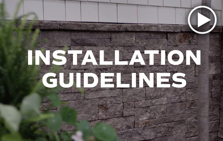 Installation Guidelines text over image of Evolve Stone installed on exterior of house
