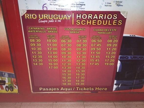 horarios colectivo cataratas brasil